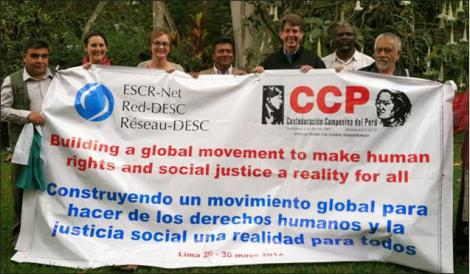 Alicia Swords, CUSLAR Advisory Board member second from left, represented the Poverty Initiative network at a global gathering of the Social Movements Working Group of the International Network for Economic, Social and Cultural Rights  in Peru in May 2014. Photo: ESCR-Net.