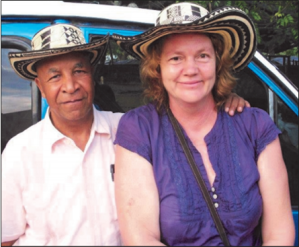 "After 28 years in Nicaragua, Lillian Hall, right, has moved to Colombia 'at the most auspicious of times.' She is pictured here with her partner, Ricardo Esquivia, founder of Sembrandopaz, or ""Sowing Seeds of Peace."" Hall was active at CUSLAR from 1980 to 1983."